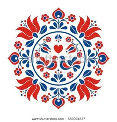 This counted cross stitch pattern of an easy to stitch Hungarian Folk Art Design was created from an image copyright of Sanyo. Hungarian Embroidery, Folk Embroidery, Learn Embroidery, Simple Embroidery, Modern Embroidery, Ribbon Embroidery, Chain Stitch Embroidery, Embroidery Stitches, Embroidery Patterns