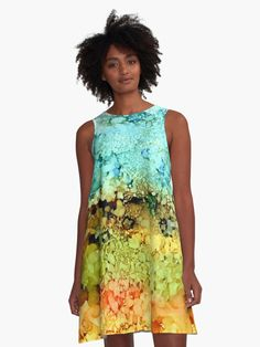 'Abstract A-Line Dress by artbylucie Line, Designer Dresses, Chiffon Tops, Classic T Shirts, High Neck Dress, Abstract, Fabric, Clothing, Women