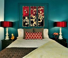 Teal bedroom decor on pinterest teal bedrooms teal home for Asian wedding bed decoration