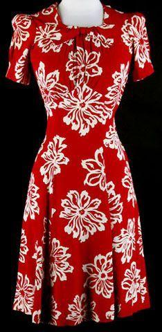 40s Red Rayon Puffy Sleeve Floral Swing Dress. 1940's dress. * Red rayon crepe * White floral print * Puffy sleeves * Metal side zipper - evening maxi dress with sleeves, long dresses for women, cheap summer dresses *sponsored https://www.pinterest.com/dresses_dress/ https://www.pinterest.com/explore/dress/ https://www.pinterest.com/dresses_dress/quinceanera-dresses/ http://www.davidsbridal.com/sale/sale-wedding-dresses