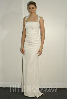 """Brides.com: Nicole Miller - Spring 2014. """"Colette"""" ivory sheath wedding dress with square neckline and embellished straps, Nicole Miller"""