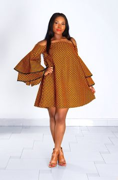 NEW IN: African print off shoulder dress Womens Ankara Clothing, African Print Clothing, African Print Fashion, African Fashion Dresses, Fashion Prints, African Attire, African Wear, African Dress, Short Gowns