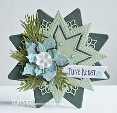 Kerst Star Cards, 3d Cards, Marianne Design Cards, Diy And Crafts, Paper Crafts, Christmas Cards, Xmas, Poinsettia, Craft Projects