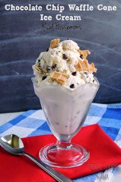 Chocolate Chip Waffle Cone Ice Cream #bringJOYhome #recipe #waffleconepieces