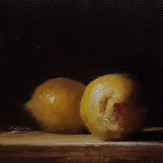 Neil Carroll Original Oil Painting Realism Impressionism Still Life Lemons