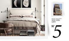 Big Style, Small Spaces | Restoration Hardware :: Big Style, Small Spaces :: No. 5 New York Loft :: <4: bedding, books, bedside lamps, art above bed, natural light | #bedroom #modern #restorationhardware