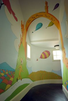 This mural looks amazing in the curved hallway Classroom Art Projects, Preschool Classroom, School Projects, School Hallways, School Murals, Playroom Mural, Wall Murals, Murals For Kids, School Decorations