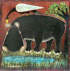 Hippo at Lake - Edward Saidi Tingatinga (1932 - 1972)