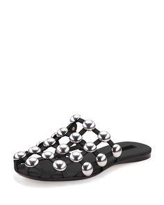 S0DCZ Alexander Wang Amelia Studded Leather Web Sandal, Black