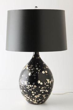 mouth-blown black glass lamp with gold splatters