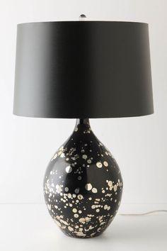 Gold-Splattered Black Glass Lamp from Anthropologie