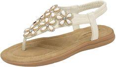 602b51fe554 Dunlop Womens Jaden Cynthia Sparkly Sandals Jaden - White - UK 5  Amazon.co