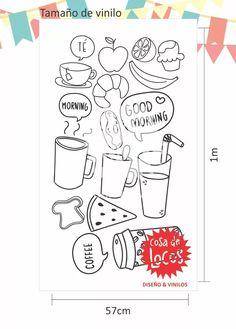 vinilos decorativos cocina, vaso, taza, café, frutas y frase Healthy Breakfast Recipes, Bullet Journal, Decal, Kitchen, Frases, Sew, Drawings, Art, Cooking