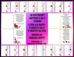 - 18 Different Mother's Day Verses with Different Beautiful Flowers in the left hand corner 2 Verses per Page These ar. Mothers Day Verses, A4, Beautiful Flowers, Card Making, Cards, Design, Maps, Handmade Cards