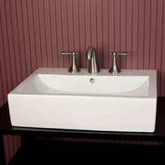 Fine Fixtures Modern Vitreous Rectangular Vessel Bathroom Sink With  Overflow | Sinks, Modern And Ceramic Sink