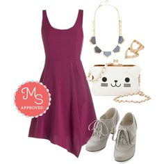 In this outfit; Just an Orchid at Heart Dress, Pop of Posh Necklace, Put a Ring Chevron It! Ring in Gold, Dance Instead of Walking Heel, Lots of Purr-sonality Bag #fuschia #boldcolors #partydress