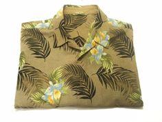 Tommy Bahama L Men's Silk Floral Brown Short Sleeve Camp Hawaiian Shirt Large #TommyBahama #ButtonFront