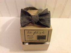 Boys black papyrus linen bow tie by TieFetish on Etsy, sale $19.50