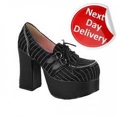 Demonia Women's Chunky Heel Platform Lace-up Shoes Charade 12 in Black Satin Pinstripe