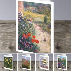 Set of 5 colourful floral cards painted by Howard Butterworth. These high quality cards have been left blank inside for your own personal greetings. Comes with a white envelope in a clear cellophane bag. Approximate size (12.3 cm x 17.7 cm) #Scottish #FineArt #flower #art #Greeting #Cards #poppies #daffodils #roses #irises #castles #royaldeeside #scotland Butterworth, Cellophane Bags, Irises, White Envelopes, Daffodils, Flower Art, Castles, Poppies, Scotland