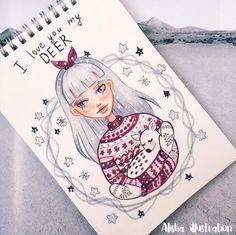 Новый год Amazing Drawings, Cool Drawings, Beautiful Drawings, Illustration Noel, Illustrations, Pretty Art, Cute Art, Art Challenge, Copics