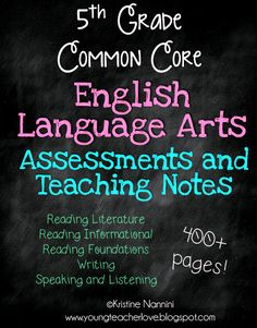 An entire years worth of English Language Arts Curriculum! 400+ pages WOW! Reading Fictional and Informational Text passages and comprehension questions with answer keys. This pack also has writing prompts with examples of student's writing for answer keys! The answer keys show what a level 4 writing looks like, a level 3, etc.! Plus writing partial complete prompts and answer keys, and language questions for every standard! 5th Grade English Language Arts Assessments and Teaching Notes$