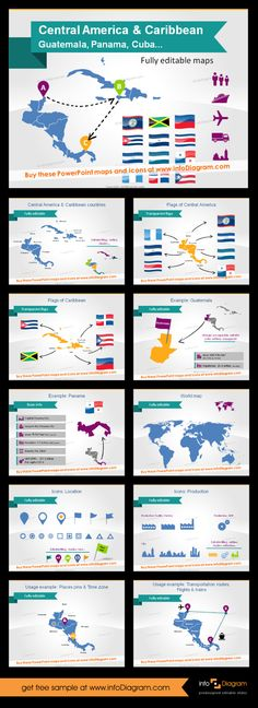 Editable maps of Central America and Caribbean. You can change anything in this template in PowerPoint to create your own slides to make your point about data, supply chains or travel. #map #centralamerica #caribbean #PowerPoint #slides #theme #template