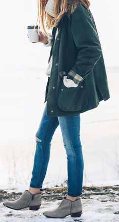 #fall #fashion / green jacket + denim