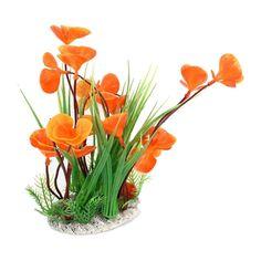 GBP - Plastic Fish Tank Aquarium Artificial Plant Grass Orange Green Y & Garden