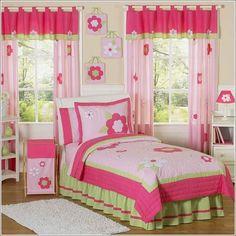 teal and pink room designs   Diseño de dormitorio para niña en verde limón y rosa . Decoración ...