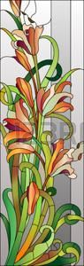 Stained glass floral pattern with red flowers