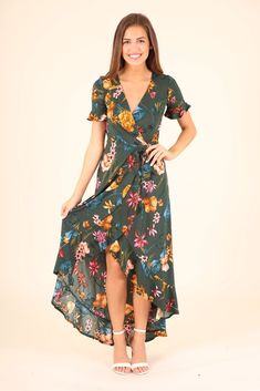 $35 LOVIN THE NEW DRESS- FOREST GREEN FLORAL