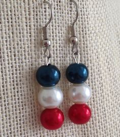 Red White and Blue Earrings Pearl Earrings by CherishedJewelryCo, $12.00