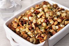 This homemade stuffing is cooked in the oven, not inside the bird, so it gets nice and crispy. The fresh sage gives the dish a yummy, autumnal flavor.