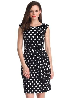 If it's a classic dress that you're looking for, then this black polka dot sleeveless dress will never fail you. Peplum Dress, Dress Up, Bodycon Dress, Fashion Tips For Women, Womens Fashion, Fashion Trends, Ootd Fashion, Fashion Weeks, 80s Fashion