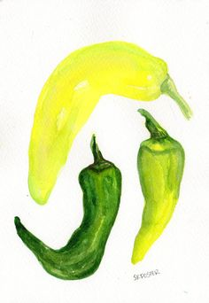 Peppers  watercolor Vegetable series Original by SharonFosterArt, $16.00