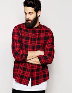 57512a29fa2 ASOS Shirt In Long Sleeve With Mid Scale Check And Grandad Collar at  asos.com