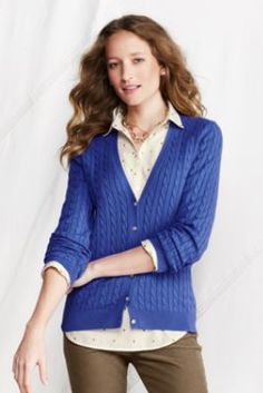 Women's+Fine+Gauge+Cotton+Cable+V-neck+Cardigan+from+Lands'+End