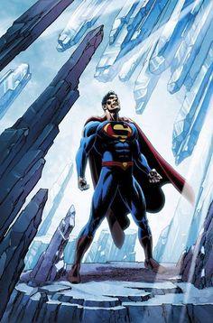 Superman in the Fortress of Solitude - fan art Mundo Superman, Superman Hulk, Superman Man Of Steel, Superman Stuff, Superman Logo, Batman Vs, Comic Book Covers, Comic Books Art, Comic Art