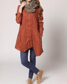 autumn orange Linen Asymmetry single breasted long shirt by MaLieb on Etsy https://www.etsy.com/listing/95317535/autumn-orange-linen-asymmetry-single