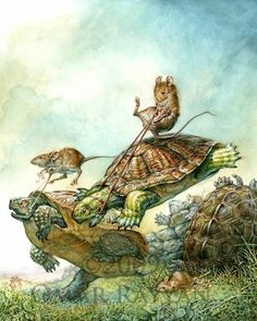 The Illustration Exchange - The Collection of Ingrid Neilson/Omar Rayyan - Turtle Race Art And Illustration, Book Illustrations, Fantasy Kunst, Fantasy Art, Omar Rayyan, Arte Pop, Woodland Creatures, Reptiles, Illustrators