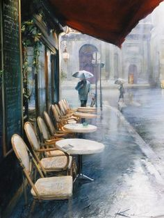 Paris in the rain. I don't think there is a more romantic city than Paris rain or shine and even when the rain falls this captures the essence of the city so well. Walking In The Rain, Singing In The Rain, I Love Rain, Parasols, Umbrellas, Art Watercolor, Little Paris, Ville France, Rain Drops