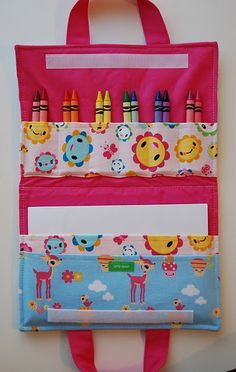 diy art folio--great beginning sewing project  I'm going to make this but instead of crayons, use it for cars