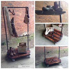 Upcycled Industrial Clothing Rack/Shop Display    Upcycled Wooden Spool