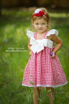 Red Gingham Dress $54 at kinderkoutureclothing.com #kidsfashion