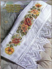 Pintura em Tecido Passo a Passo: Pintura de papoulas em toalha e barrado de crochê coração