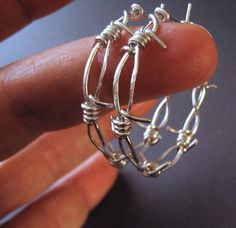 Barbed Wire, Hoop Earrings, Sterling Silver - Middle Child Barbed Wire Hoop Earrings. $69.00, via Etsy.