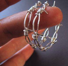 Barbed Wire, Hoop Earrings, Sterling Silver - Middle Child Barbed Wire Hoop Earrings. $69.00, via Etsy.