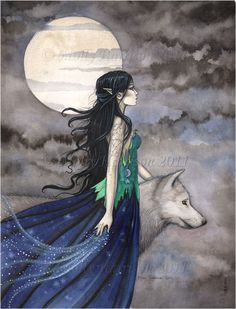 Witch with Wolf Gothic Fantasy Fine Art Print by Molly Harrison
