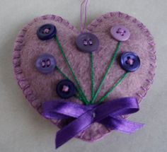 Felt heart ornament  with button flowers - Mother's day - gift -Heart ornament - felt ... $5
